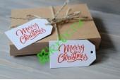 """Бирка тег белая """"Merry Christmas"""", 3 шт"""