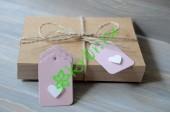 Бирка фигурная розовая с сердечком, 5 шт