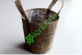 Кашпо сумочка из мешковины, шт
