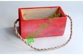 Кашпо с ручкой из каната 18х9х9,5 см красное заснеженное, шт