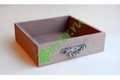 Ящик бокс  деревянный с фурнитурой 25х25х7,5 см, пыльная роза