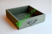 Ящик бокс  деревянный с фурнитурой 25х25х7,5 см, оливковый