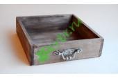 Ящик бокс  деревянный с фурнитурой 25х25х7,5 см, миланский орех