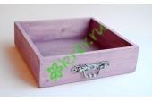 Ящик бокс  деревянный с фурнитурой 25х25х7,5 см, сиреневый