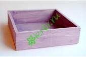 Ящик бокс  деревянный 25х25х7,5 см, сиреневый