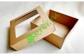 Подарочная коробка крафт с окном 20х20х8 см, от 50 шт