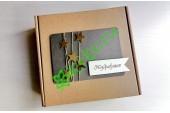 Подарочная коробка 18х18х6 см с декором Звезды шоколад, шт