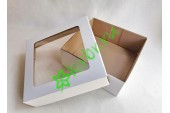 Подарочная коробка крафт с окном БЕЛАЯ 20х20х8 см, шт