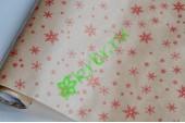 """Крафт бумага с новогодним принтом """"Красные снежинки"""" , метр"""