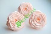 Роза из атласной ленты большая персиковая, шт.