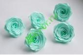 Роза из атласной ленты малая светло-бирюзовая, шт.