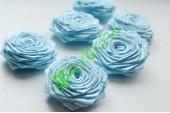 Роза из атласной ленты малая голубая, шт.