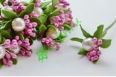 Тычинки в букетике с бусиной розовые, 1 шт