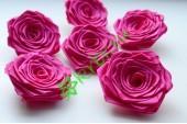 Роза из атласной ленты малая малиновая, шт.