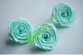 Роза из атласной ленты большая светло-бирюзовая, шт.