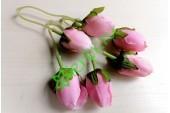 Бутончик розы на ножке двойной розовый