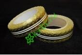 Лента кружевная золото/белая 30 мм, 3 м
