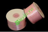 Лента атласная горошек светло-розовая 50 мм, 1 м
