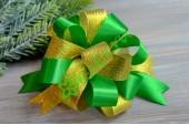 Бант-шар атласный с люрексом золото/зеленый, шт