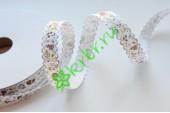 Лента декоративная Цветочный принт бело-шоколадная, 1 м