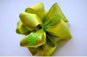 Бант-шар атласный с люрексом, оливковый