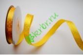 Лента атласная горох желтая 12 мм, 1 м