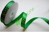 Лента атласная горох зеленая 12 мм, 1 м