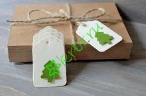 Бирка фигурная айвори с зеленой елочкой, 5 шт