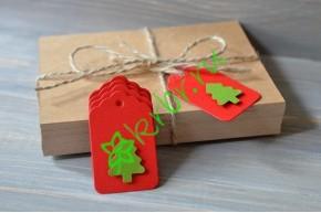 Бирка фигурная красная с зеленой елочкой, 5 шт
