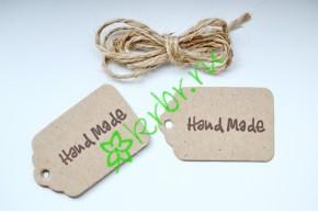 Бирка фигурная крафт Hand Made, 5 шт