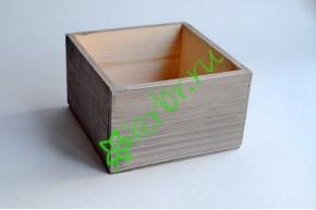 Кашпо ящик деревянный 15х15х9,5 см пыльный серый, шт