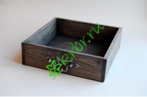 Ящик бокс  деревянный с фурнитурой 25х25х7,5 см, пыльный серый