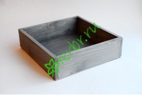 Ящик бокс  деревянный 25х25х7,5 см, серый