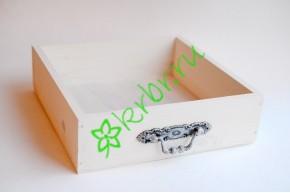 Ящик бокс  деревянный с фурнитурой 25х25х7,5 см, белый