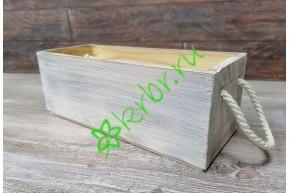 Ящик Дания с веревочными ручками, белый состаренный