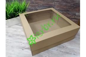 Подарочная коробка кр/дно с окном 30х30х14 см, от 50 шт