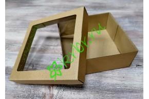 Подарочная коробка кр/дно с окном 15х15х6 см, от 50 шт