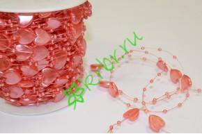 Бусины Сердца на нити, розовый