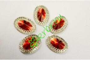 Стразы двухцветные овальные серебро/красный, 5 шт