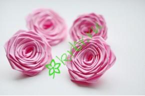 Роза из атласной ленты малая розово-сиреневая, шт.