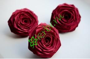 Роза из атласной ленты большая бургунди, шт.