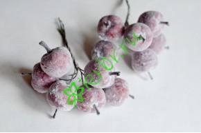 Яблочки заснеженные красные 2,8 см, 6 шт
