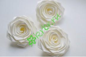 Роза из атласной ленты большая белый шифон, шт.