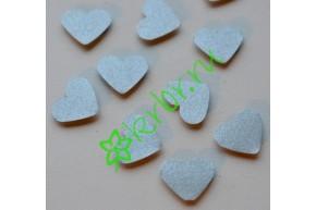 Декор на липучке Сердечки серебро, 10 шт