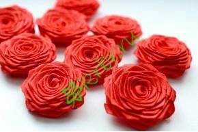 Роза из атласной ленты малая красная, шт.