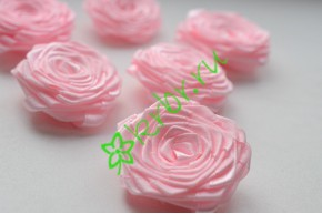 Роза из атласной ленты малая нежно-розовая, шт.