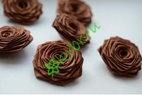 Роза из атласной ленты малая шоколад, шт.