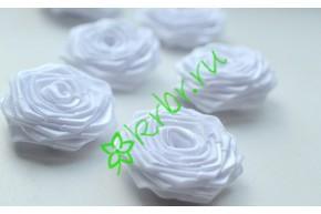 Роза из атласной ленты малая белая, шт.