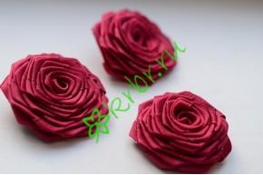 Роза из атласной ленты малая бордо, шт.
