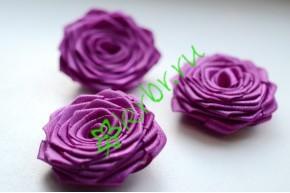 Роза из атласной ленты малая лиловая, шт.